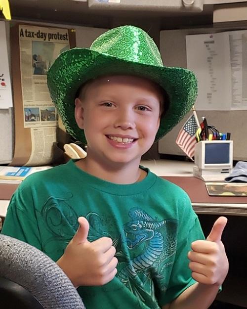 Happy Boy in green hat