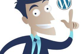 man with wordpress logo