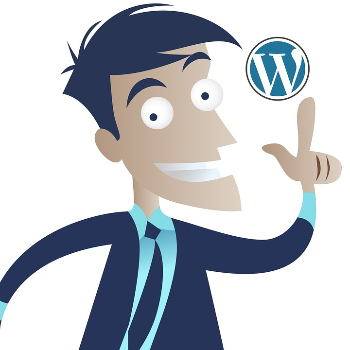 man with wordpress logo