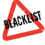 Blacklist sign with red triangle